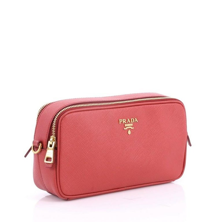 cf1b74d4fee0 Pink Prada Double Zip Crossbody Bag Saffiano Leather Mini For Sale