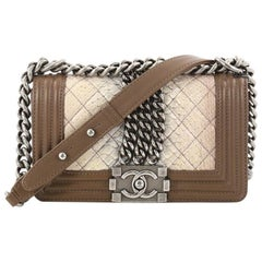 Chanel Chained Boy Flap Bag Quilted Python Small