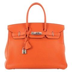 Hermes Birkin Handbag Orange H Vache Trekking with Palladium Hardware 35