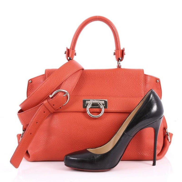 eff46312662f This authentic Salvatore Ferragamo Sofia Satchel Pebbled Leather Medium is  a stylish and functional