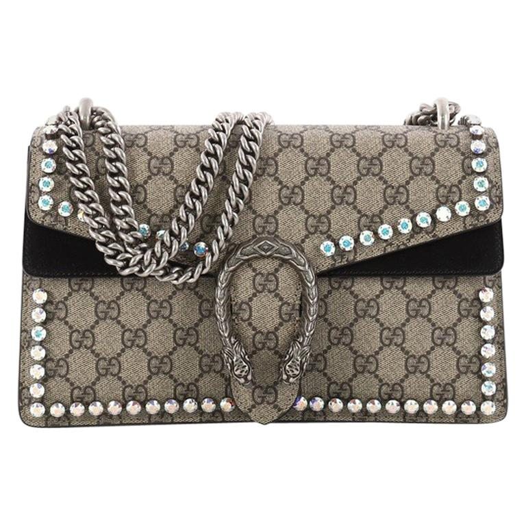 3854fa4fc4d Gucci Dionysus Handbag Crystal Embellished GG Coated Canvas Small For Sale