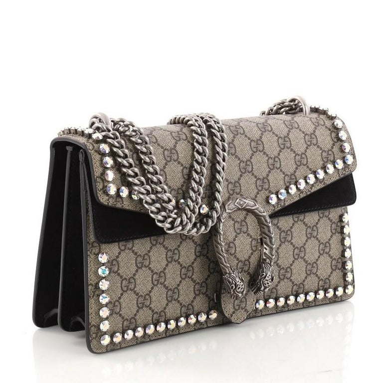 23a7b8c85a0 Gucci Dionysus Handbag Crystal Embellished GG Coated Canvas Small In Good  Condition For Sale In New