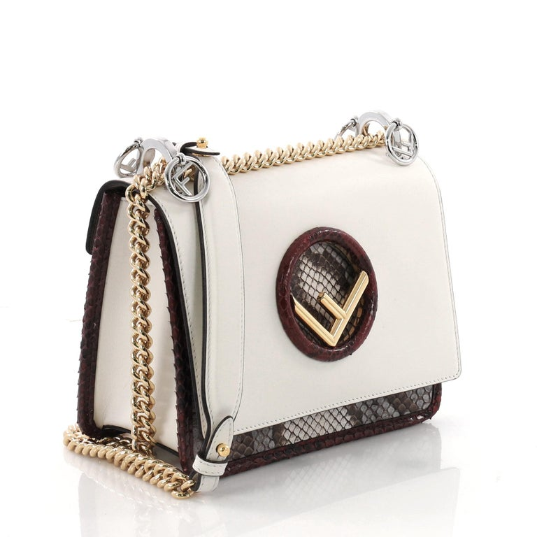 fee99664410e Beige Fendi Kan I F Shoulder Bag Leather and Python Small For Sale