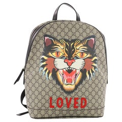 Gucci Angry Cat Zip Backpack Printed GG Coated Canvas Medium