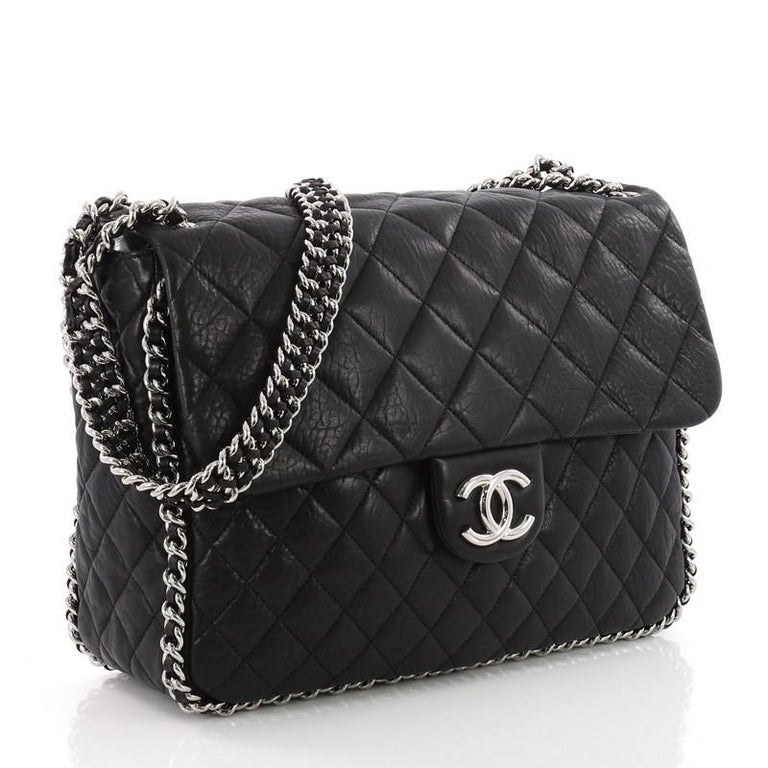 b8daa34fd8f968 Chanel Chain Around Flap Bag Quilted Leather Maxi In Excellent Condition  For Sale In New York