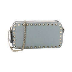 Valentino Double Zip Clutch with Chain Leather Small