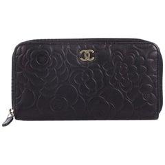 Chanel Zip Around Wallet Camellia Lambskin