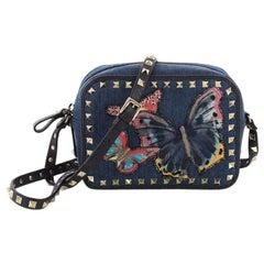 Valentino Rockstud Camera Crossbody Bag Denim with Butterfly Applique