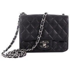 Chanel Square Classic Single Flap Bag Quilted Caviar Mini
