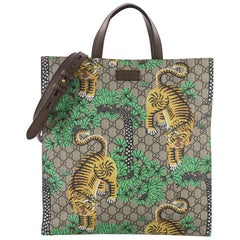 Gucci Convertible Soft Open Tote Bengal Print GG Coated Canvas Tall