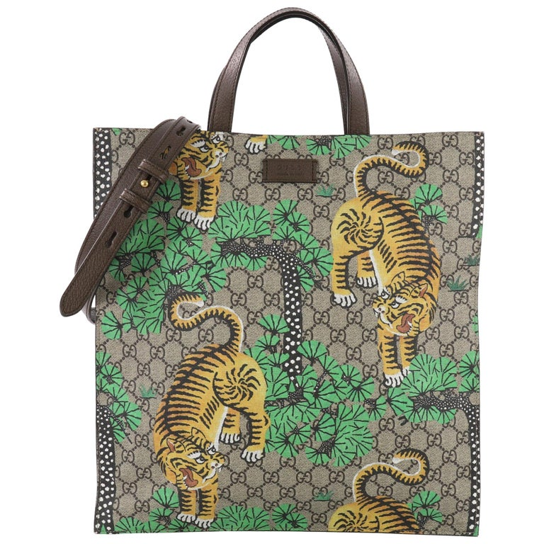 2496fec583de Gucci Convertible Soft Open Tote Bengal Print GG Coated Canvas Tall For Sale