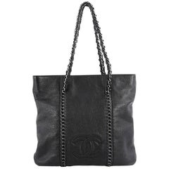 Chanel Luxe Ligne Zipped Tote Leather Large