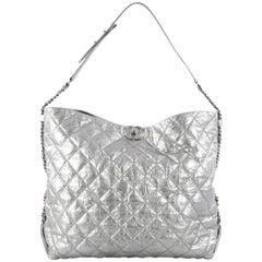 Chanel Big Bang Hobo Quilted Metallic Aged Calfskin Large