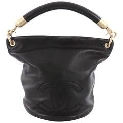 Chanel Vintage CC Handle Bucket Bag Leather Medium