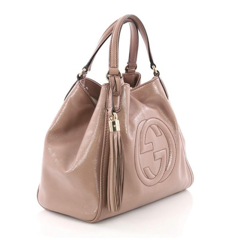 7745497e988 Brown Gucci Soho Convertible Shoulder Bag Patent Small For Sale