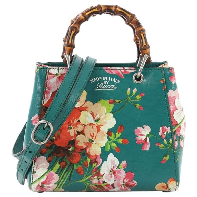 e02db6833b5 Gucci Bamboo Shopper Tote Blooms Print Leather Mini For Sale at 1stdibs