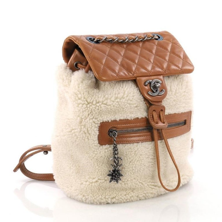 7f92d6605eb3 Beige Chanel Mountain Backpack Shearling with Quilted Calfskin Small For  Sale