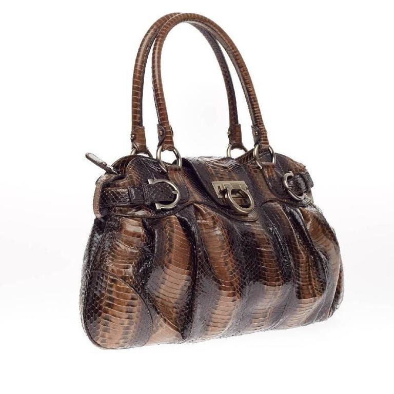 9b31d5810f Salvatore Ferragamo Marisa Satchel Python In Good Condition For Sale In New  York