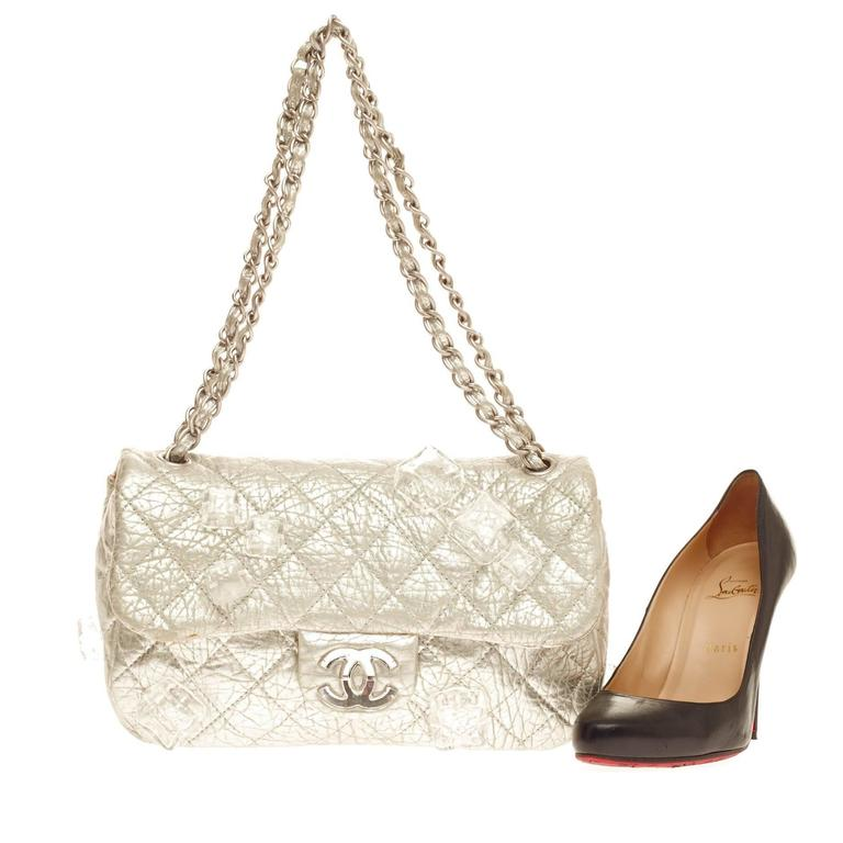 00397d6a2130 This authentic Chanel Limited Edition Ice Cube Flap Bag Quilted Calfskin  Jumbo is an eye-