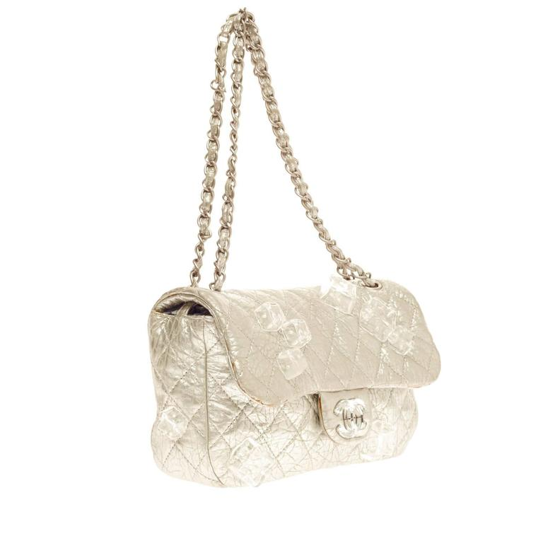 87ef83791bb8 Chanel Limited Edition Ice Cube Flap Bag Quilted Calfskin Jumbo For Sale