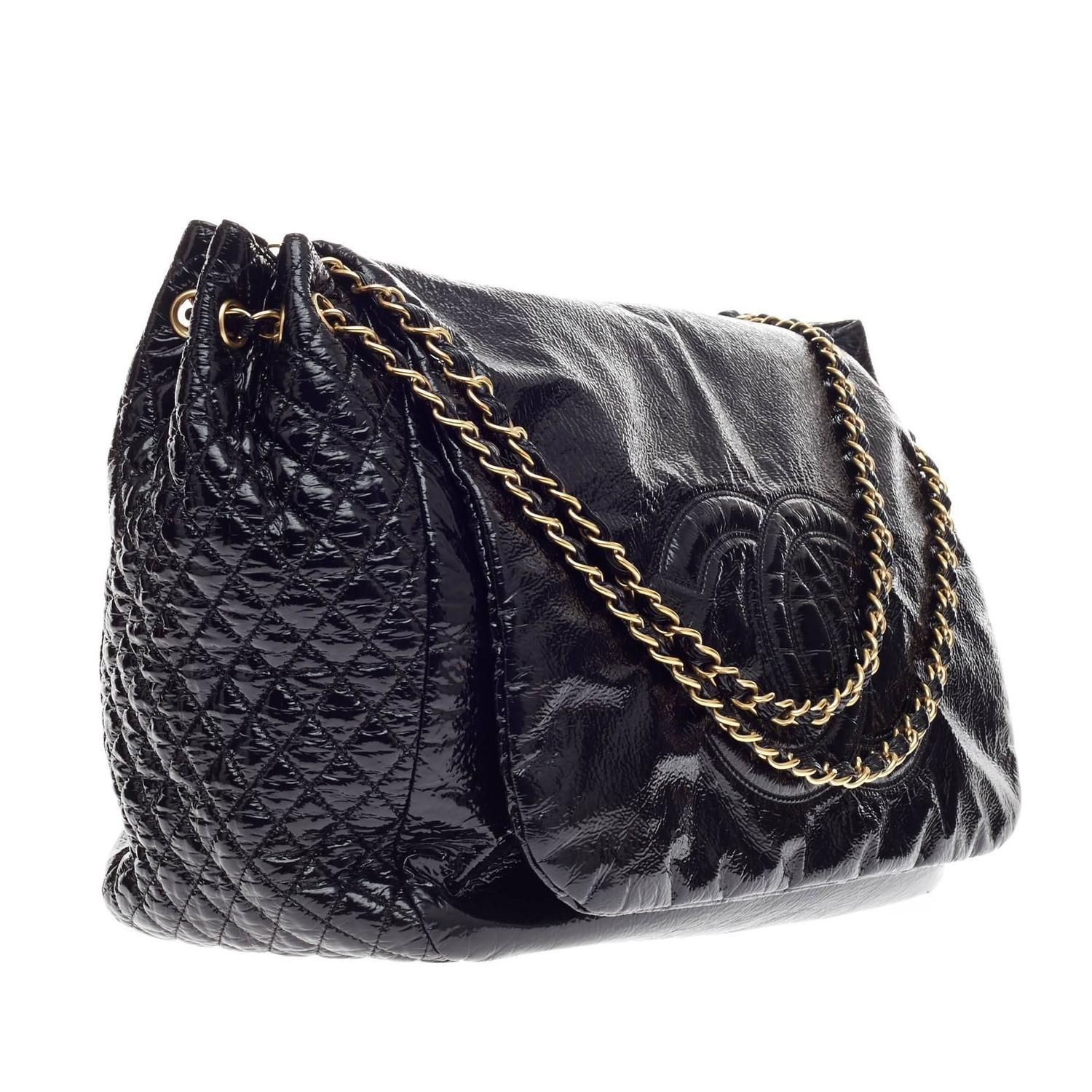 5317bd9703ed16 Chanel Rock and Chain Flap Bag Patent Large at 1stdibs
