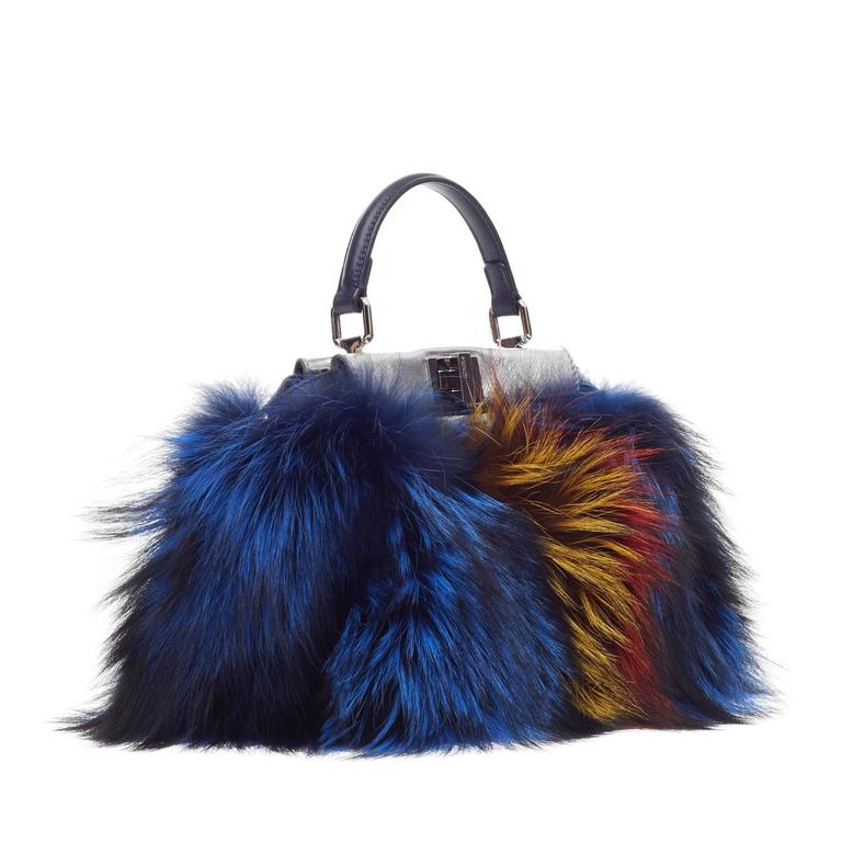 Fendi Limited Edition Peekaboo Fox Fur Mini In Good Condition For Sale In New York, NY