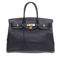 Hermes Birkin Black Clemence with Gold Hardware 35