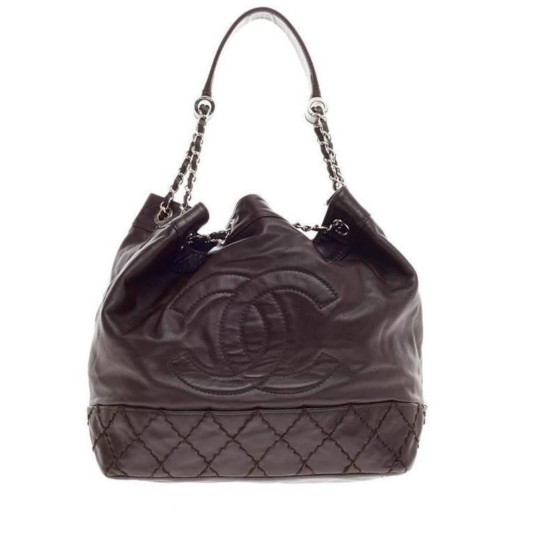 52e6acb898bc Chanel CC Drawstring Bucket Bag Lambskin at 1stdibs