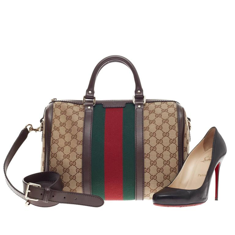 This Authentic Gucci Vintage Web Boston Bag Gg Canvas Medium Is A Recognizable Classic Crafted