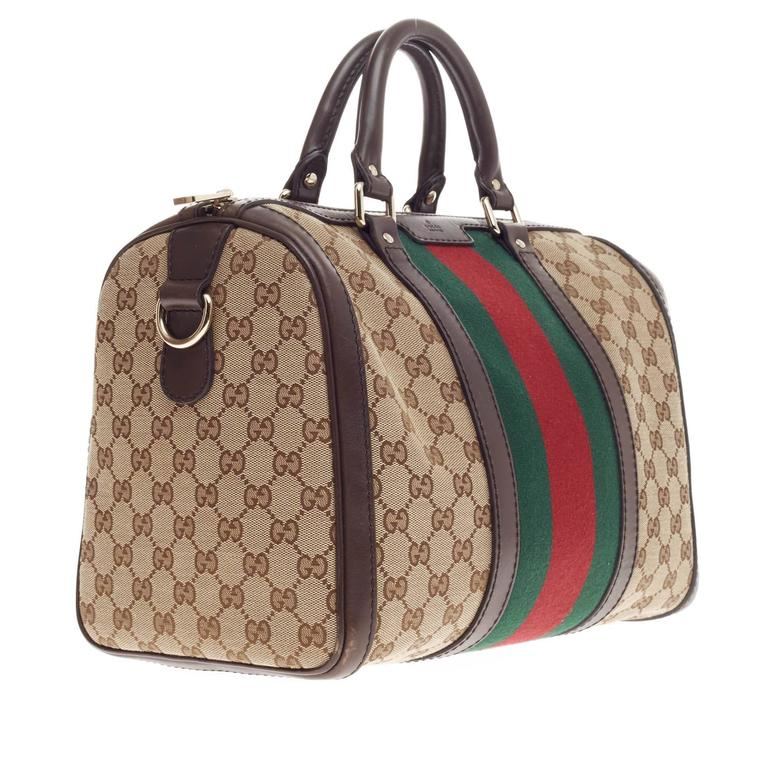 2e0e000616e Gucci Vintage Web Boston Bag GG Canvas Medium In Good Condition For Sale In New  York