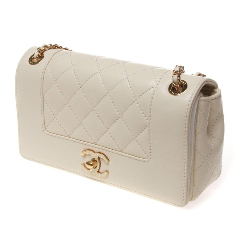 edede4806f18 Beautiful Chanel Mademoiselle Vintage Flap Bag in ivory quilted lambskin  leather. Classic Chanel gold chain