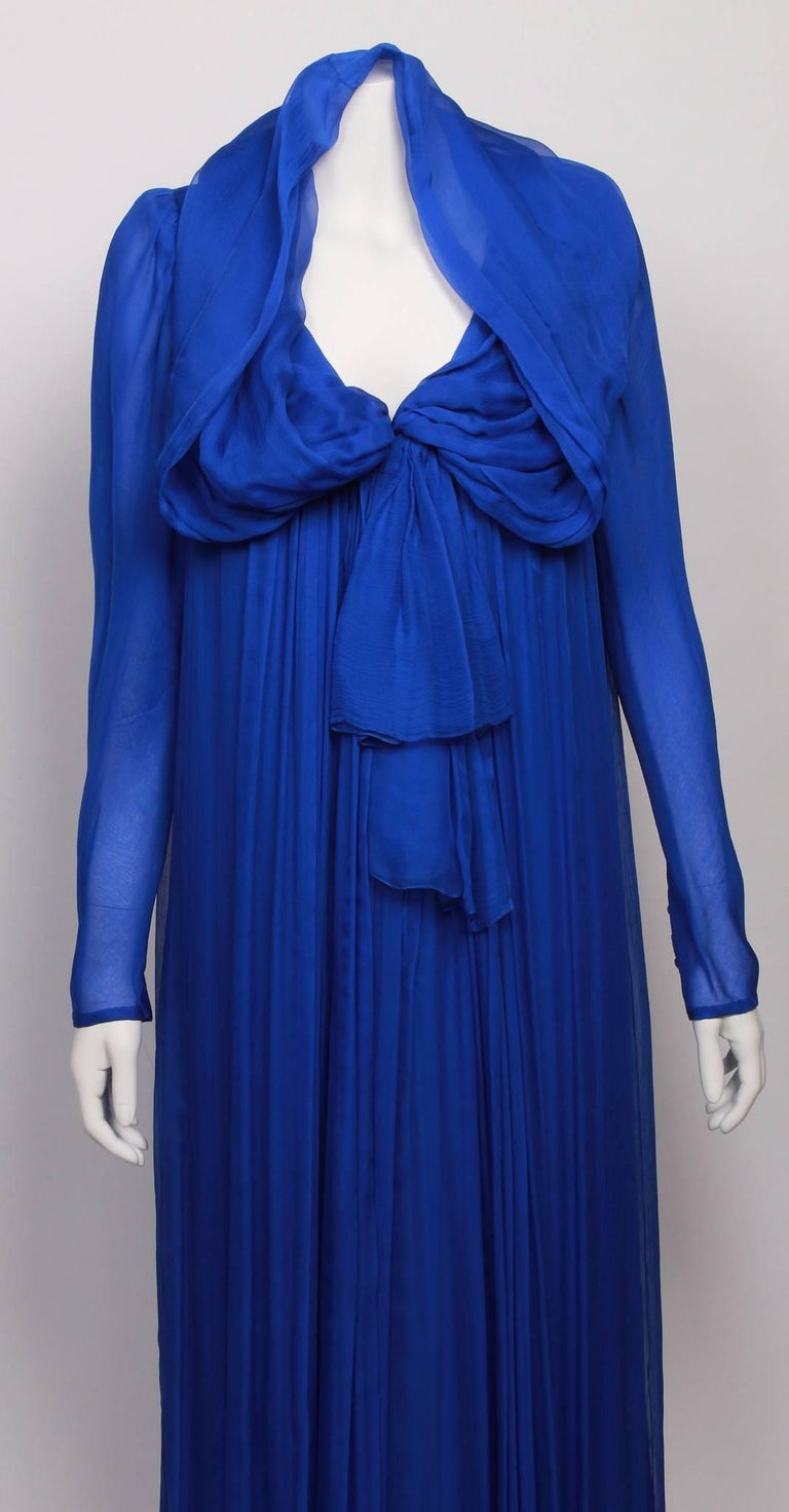Purple YVES SAINT LAURENT 1970s  Couture Hooded Evening Gown For Sale