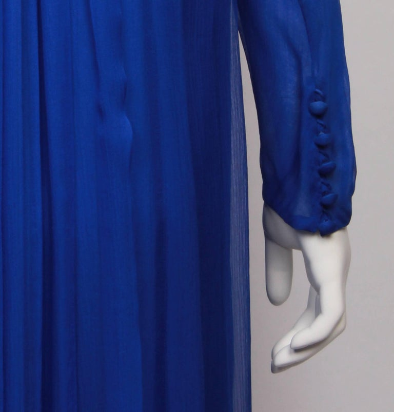 Women's YVES SAINT LAURENT 1970s  Couture Hooded Evening Gown For Sale