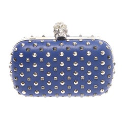 Alexander McQueen Studded Crystal-Skull Clutch Bag