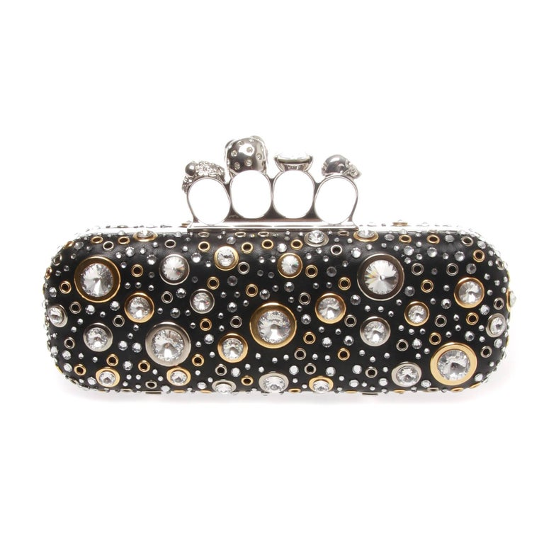 Black Alexander McQueen Nappa Leather and Studs Knuckle box  For Sale