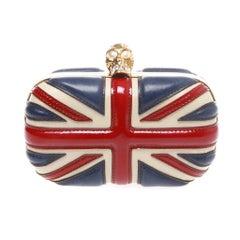Alexander McQueen Red Patent Leather Britannia Skull Box Clutch