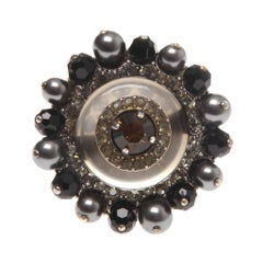 Lanvin Round Crystal and Pearl Ring