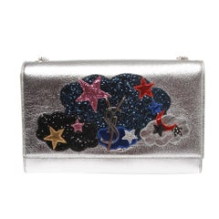 Limited Edition Saint Laurent YSL Silver Classic Medium Kate Crossbody Bag