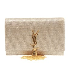Saint Laurent Classic Kate Tassel Chain Wallet in Gold