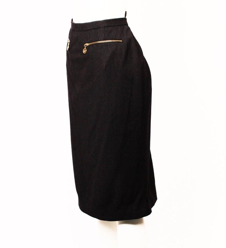 Black Chanel Boutique Pencil Skirt For Sale