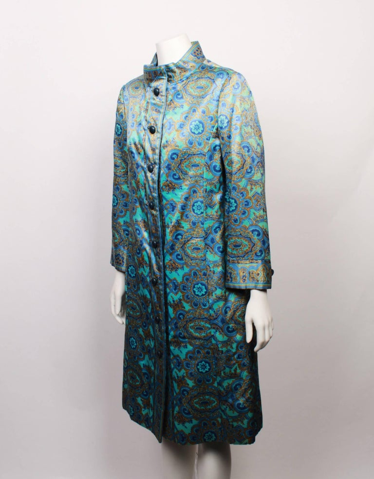 Christian Dior Stained Glass Floral and Paisley Print Silk Evening Coat, 1960s  In Good Condition For Sale In Melbourne, Victoria