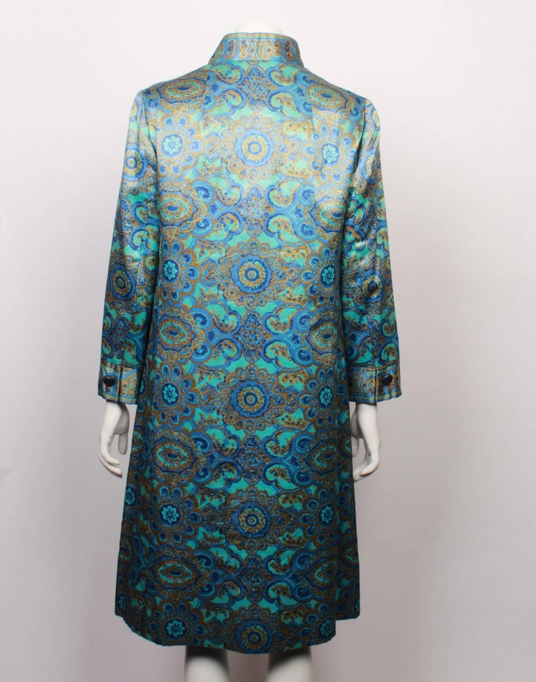 Women's Christian Dior Stained Glass Floral and Paisley Print Silk Evening Coat, 1960s  For Sale