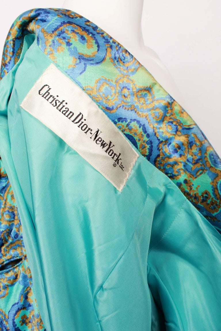 Blue Christian Dior Stained Glass Floral and Paisley Print Silk Evening Coat, 1960s  For Sale