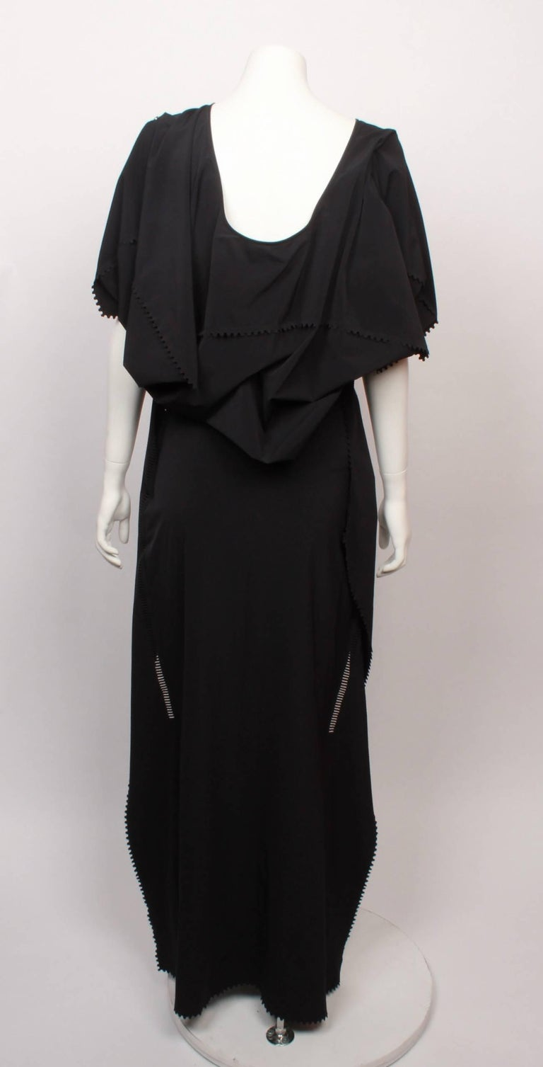 Issey Miyake Long Black Art Wear Dress  M For Sale 2