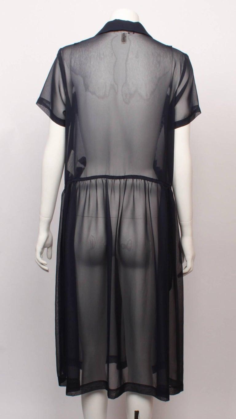 Black Comme des Garcons Sheer Navy Frill Dress   For Sale