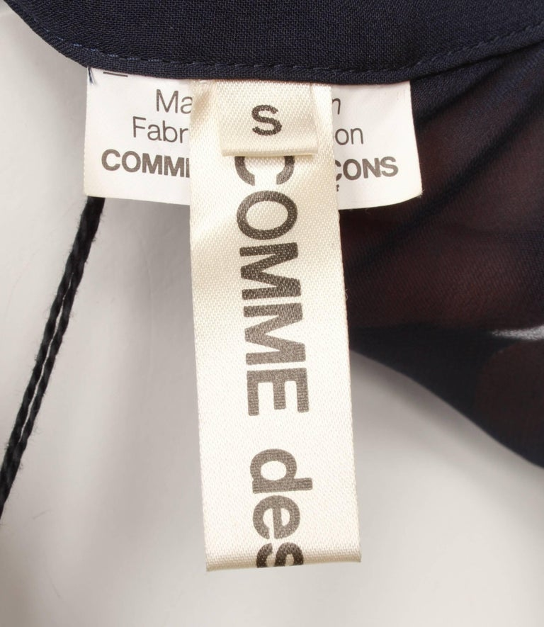 Comme des Garcons Sheer Navy Frill Dress   For Sale 2