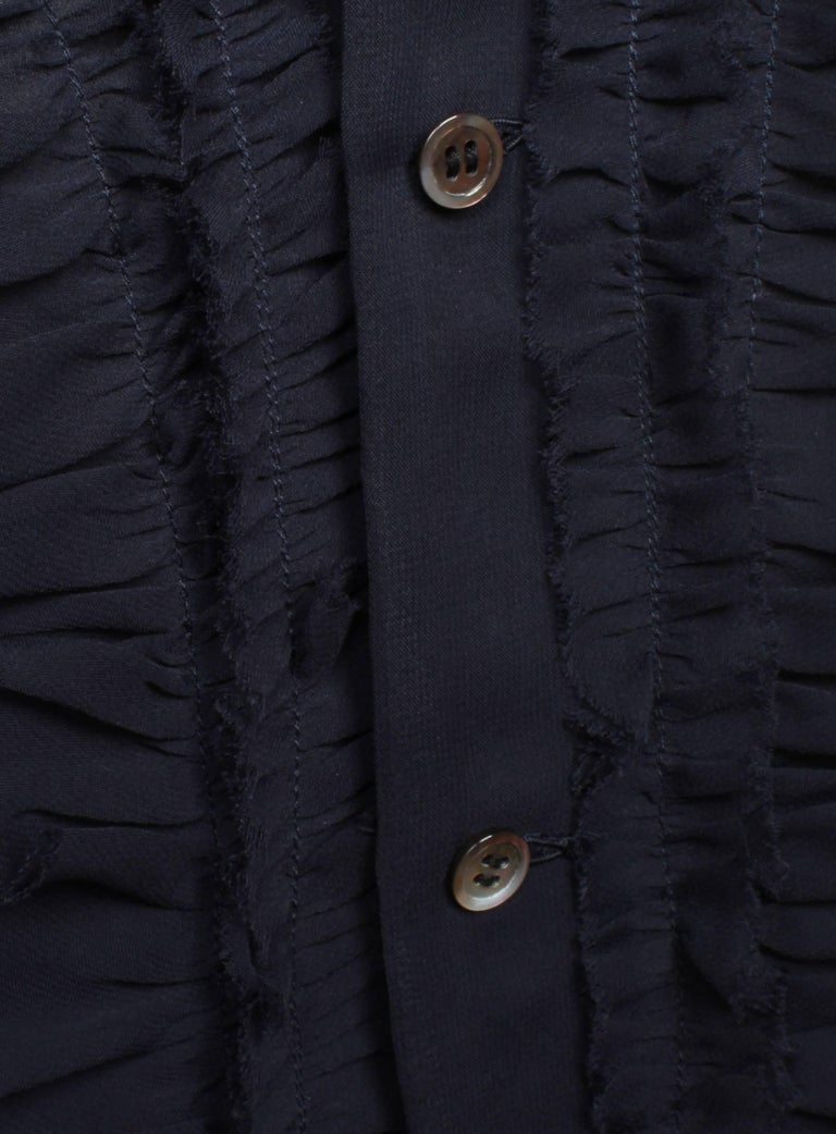Women's Comme des Garcons Sheer Navy Frill Dress   For Sale