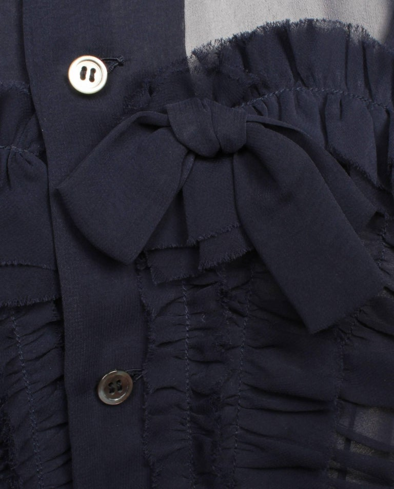 Comme des Garcons Sheer Navy Frill Dress   In Good Condition For Sale In Melbourne, AU