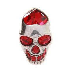 Alexander McQueen Ruby Red Crystal Skull Ring