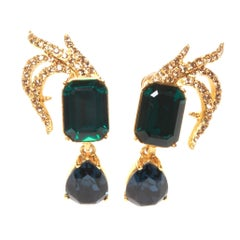 Oscar De La Renta Clip On Crystal Earrings